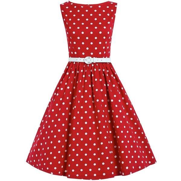 'Audrey' Red Polka Dot Swing Dress (€44) ❤ liked on Polyvore featuring dresses, red, polka dot swing dress, boatneck dress, skater skirts, circle skirt and red skater skirt