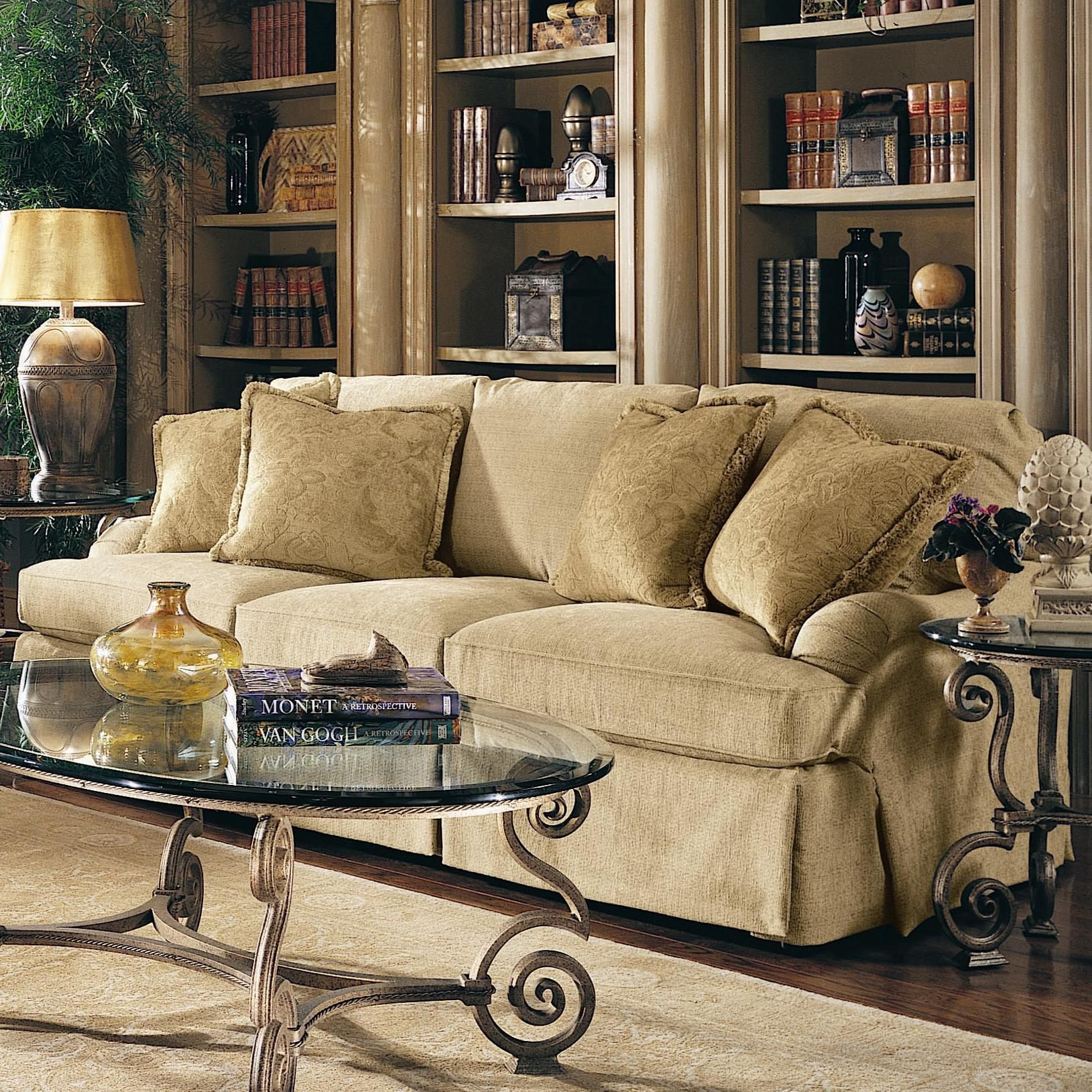 Crusoe Traditional Style Skirted Sofa with 4 Pillows by Bernhardt