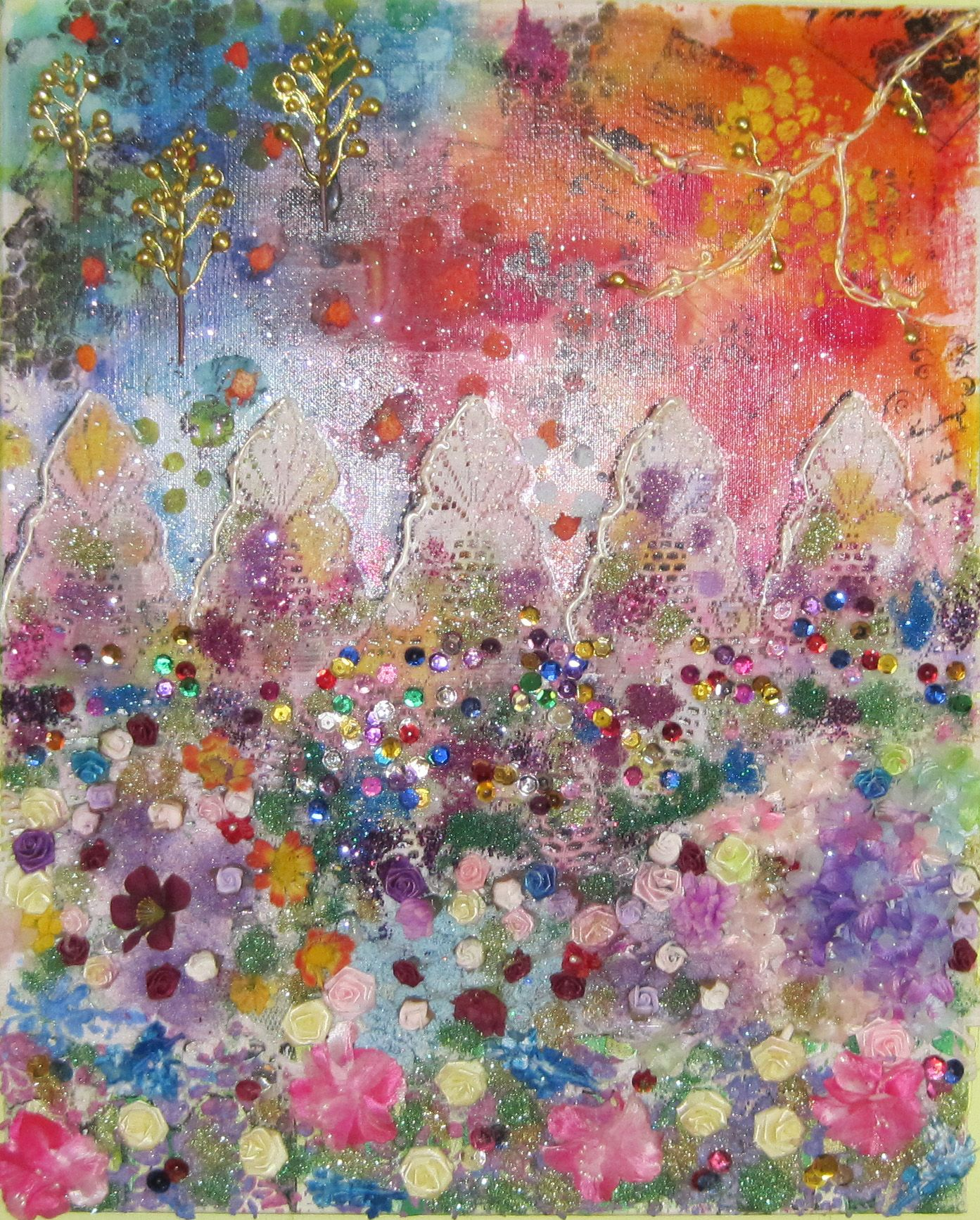 """""""The Garden Fence."""" Used Dylusion sprays, lace, flowers from thrift stores, glitter, and sequins."""