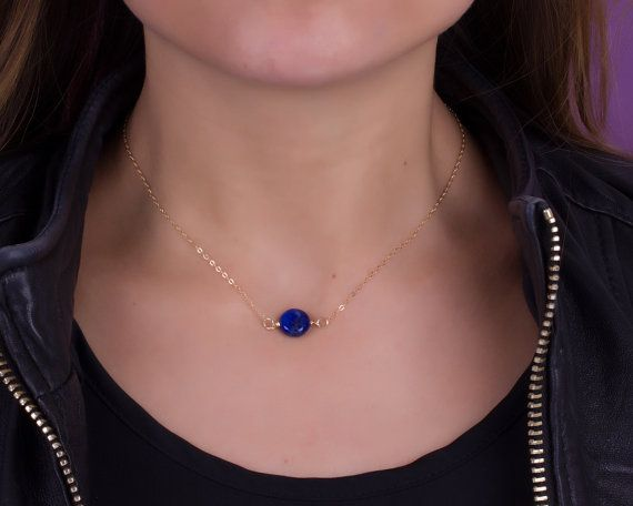 Dark blue lapis lazuli  necklace