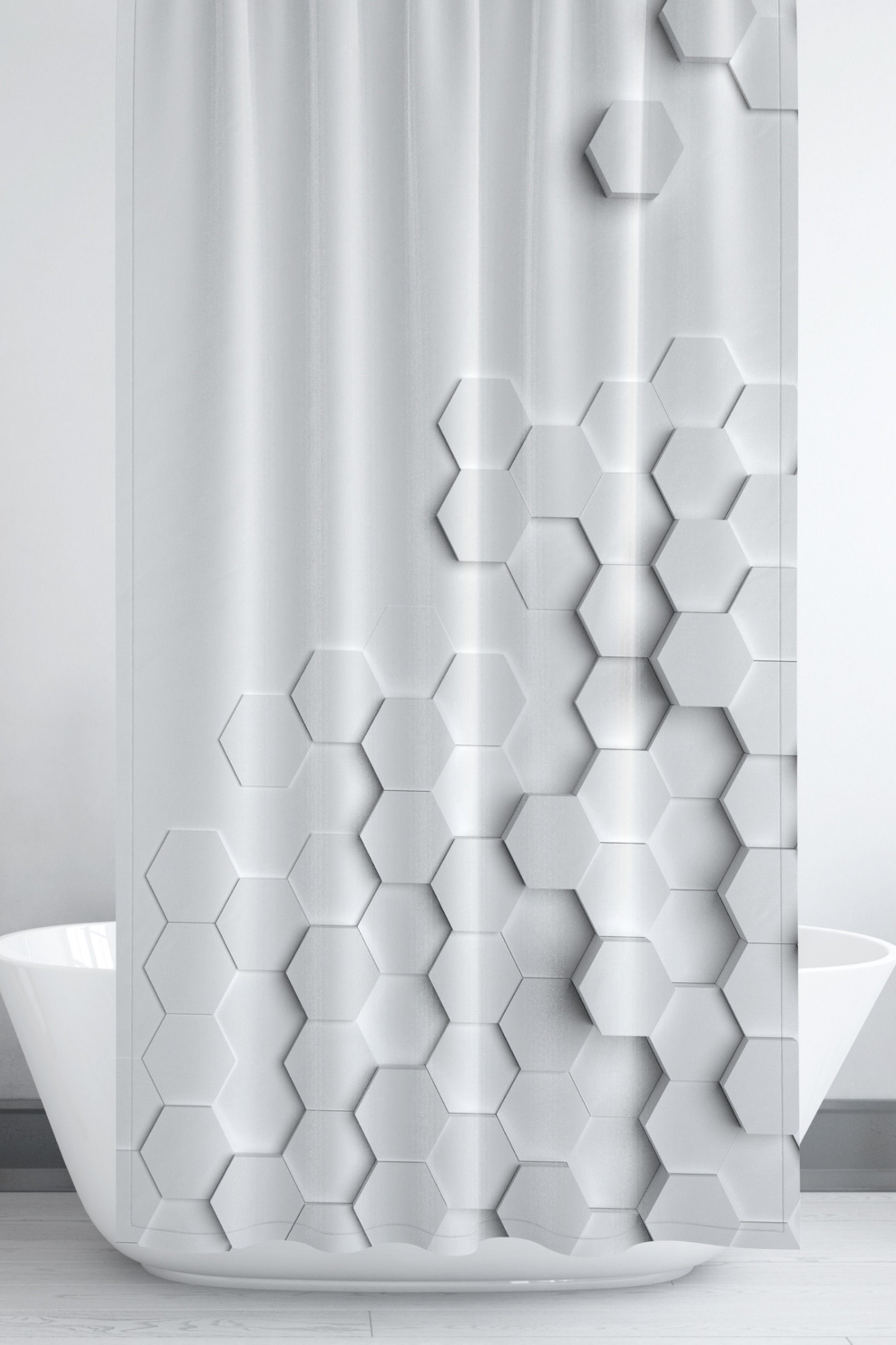Gray And White Geometric 3d Hexagon Print Shower Curtain Activate