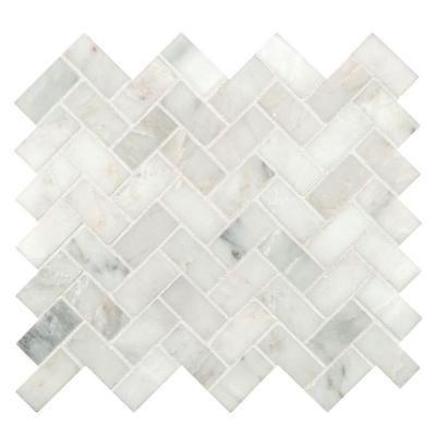 MS International Arabescato Carrara Herringbone Pattern 12 in  x 12 in  x  10 mm Honed Marble Mesh Mounted Mosaic Tile  10 sq  ft    case   White. MS International Arabescato Carrara Herringbone Pattern 12 in  x