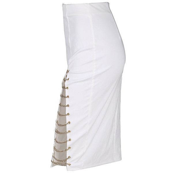 Sexy Chain Slit White Skirt Pencil Fit Casual Skirt Size XS S M L