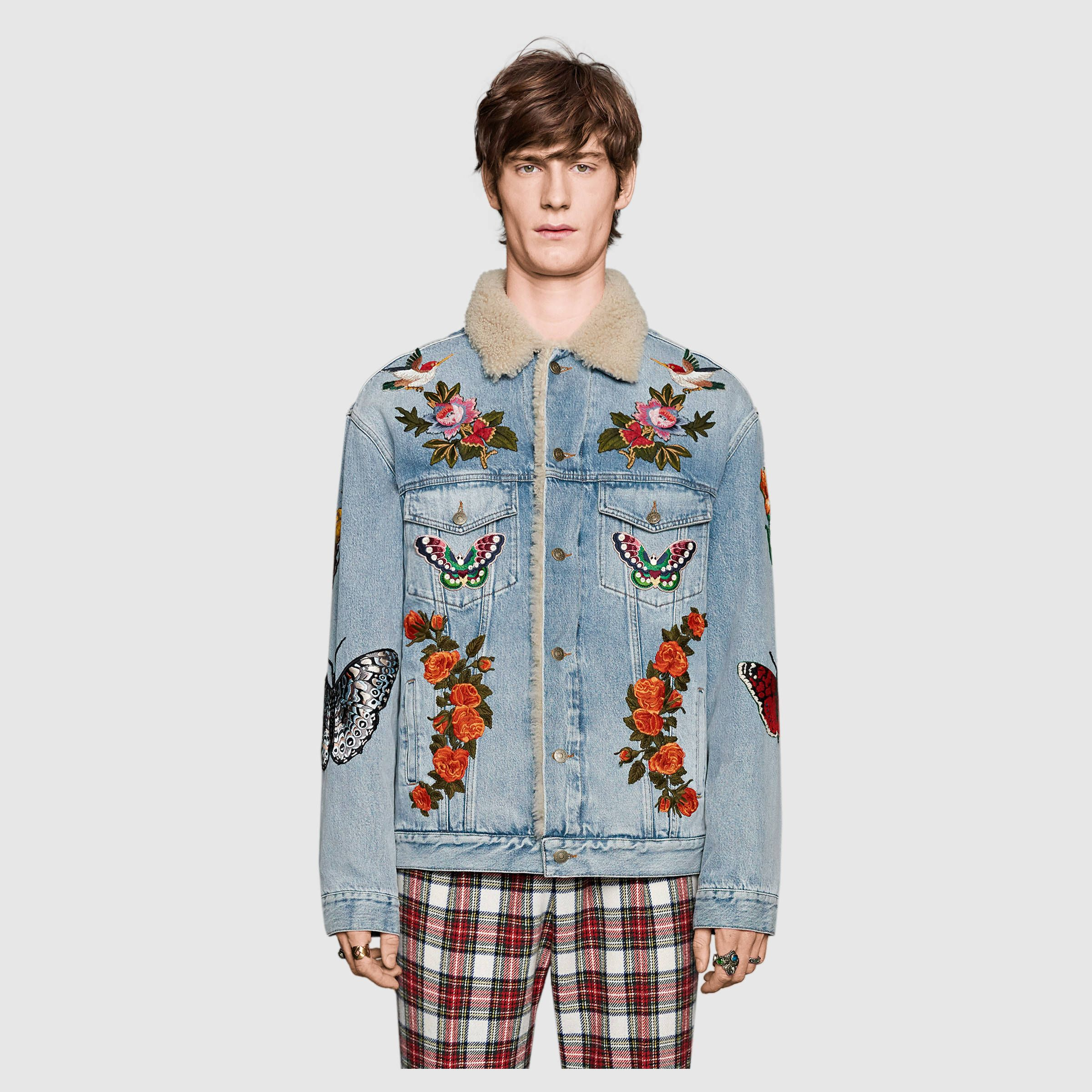 Gucci Embroidered Denim Jacket With Shearling Detail 3