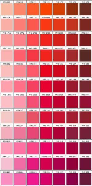 P A N T O E I K S R D Red Paint Colors Color Chips Swatch