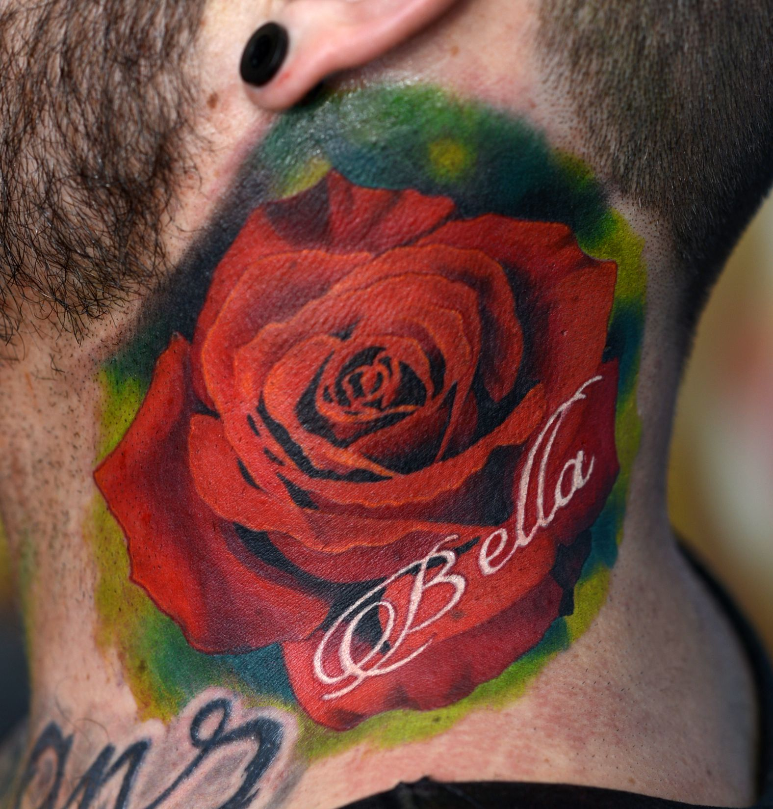 Neck Realistic Rose Tattoo Ink Red Top Ink Dublin Forever Petals City Tattoo Tattoo Dublin Custom Tattoo Design