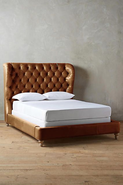 Tufted Wingback Bed Leather Bed Frame Brown Leather Bed