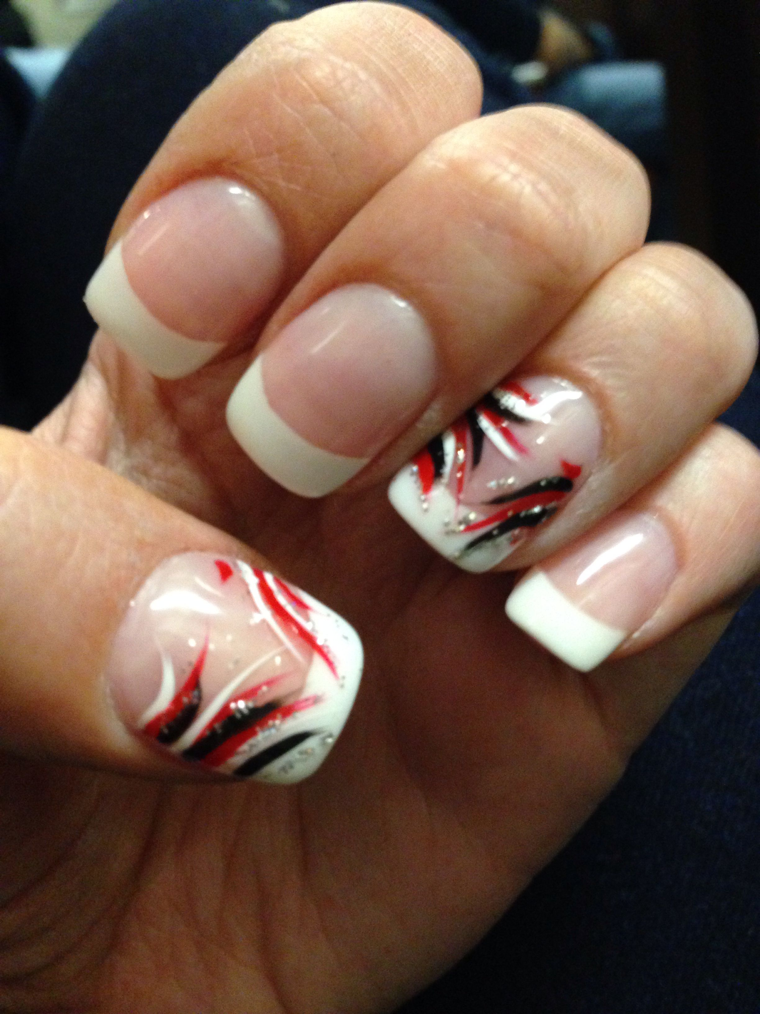 Black White And Red Design On French Manicure Red Black Nails