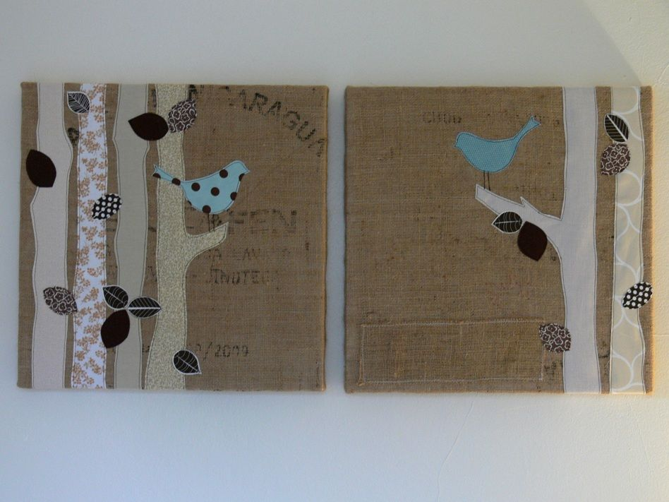 Chatty birds burlap art by jenny bartoy stumbles for Burlap fabric projects