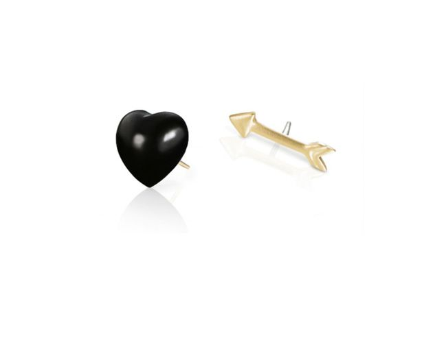 Finn Black Heart and Arrow Studs, $485