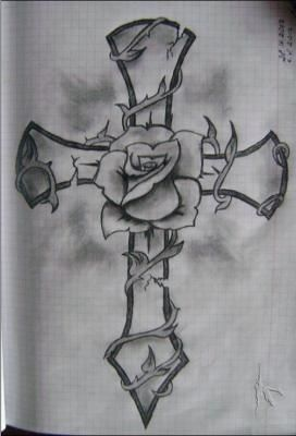 Cross And Rose Drawing Coloring Pages Pinterest Tattoo