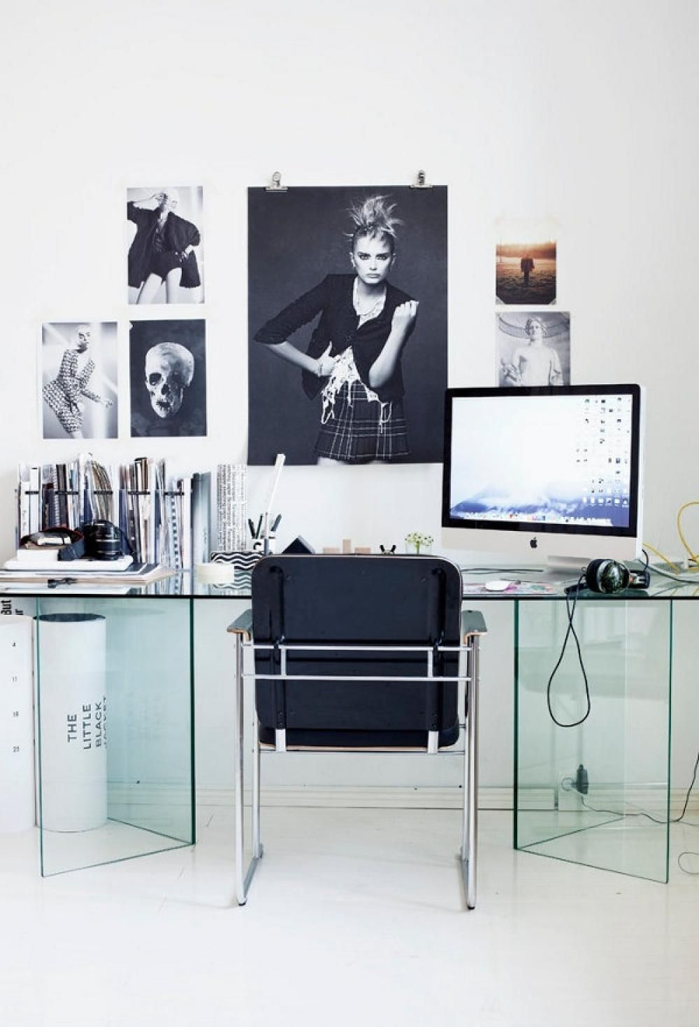 Modern Glass Desk Cool Home Office With Poster Tapja. Chair, Sofa ...