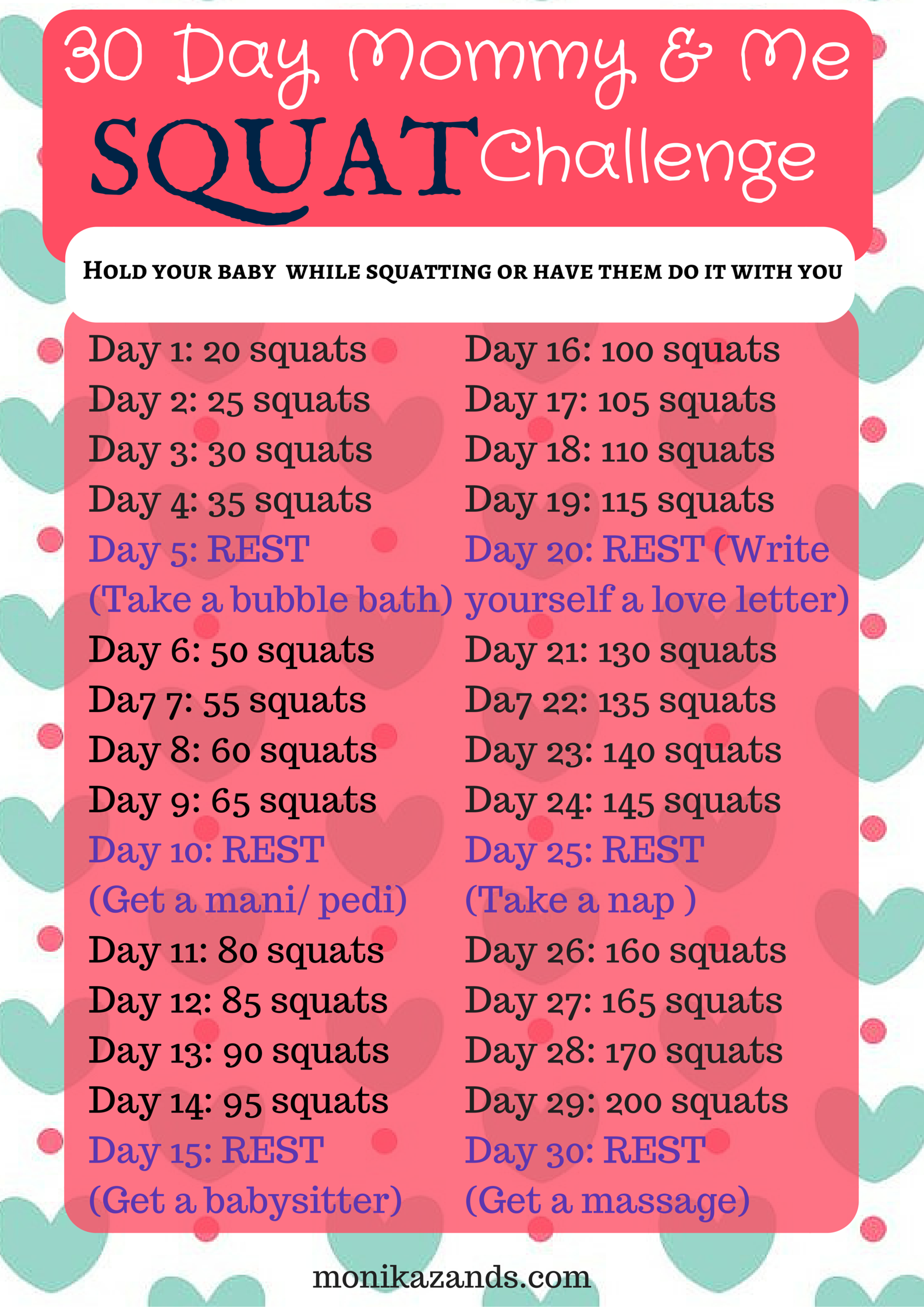 Take on the 30 Day Mommy and Me SQUAT Challenge! Hold your babies or have your kids do them with you -   24 fitness challenge for kids