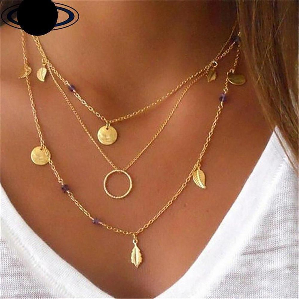 14k Gold Coin Moon Pendant Necklace Multilayer Chain Layered Necklace Choker Long Tassel Necklace for Women Girls