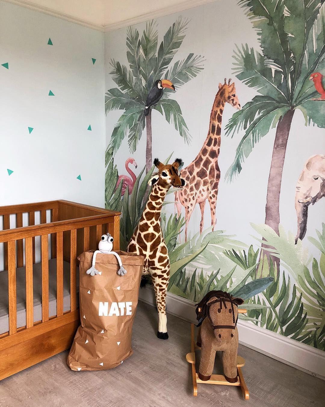Watercolour Jungle Nursery Wallpaper Mural  Murals Wallpaper in