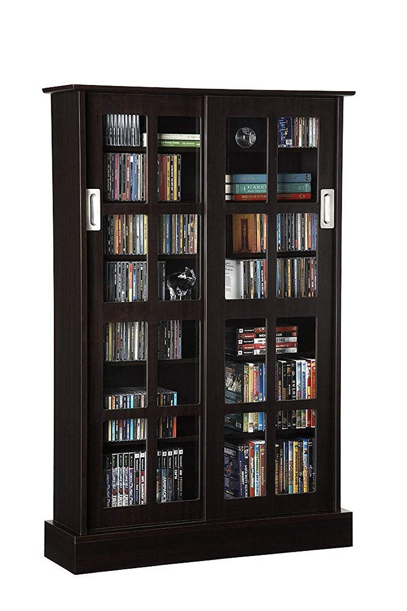 Media Cabinet With Glass Doors Espresso Storage Cabinets