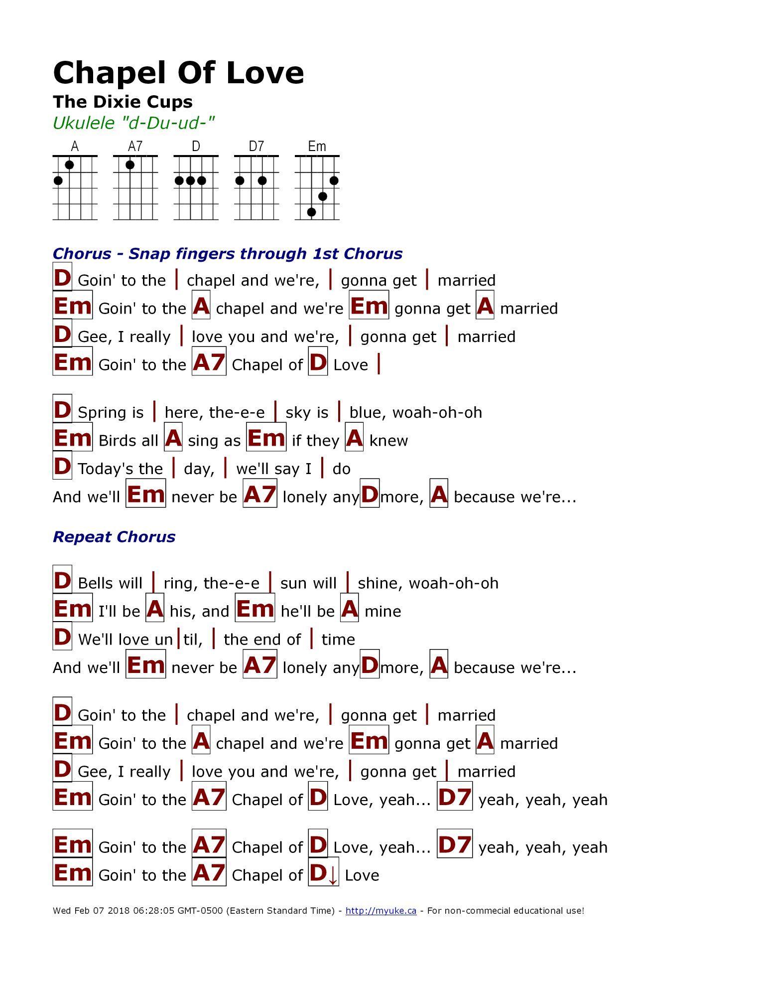 Cups Ukulele : ukulele, Chapel, Dixie, Cups), Http://myuke.ca, Lyrics, Chords,, Ukulele, Songs
