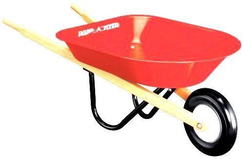 radio flyer kid s wheelbarrow steel tray wooden handles tool yard