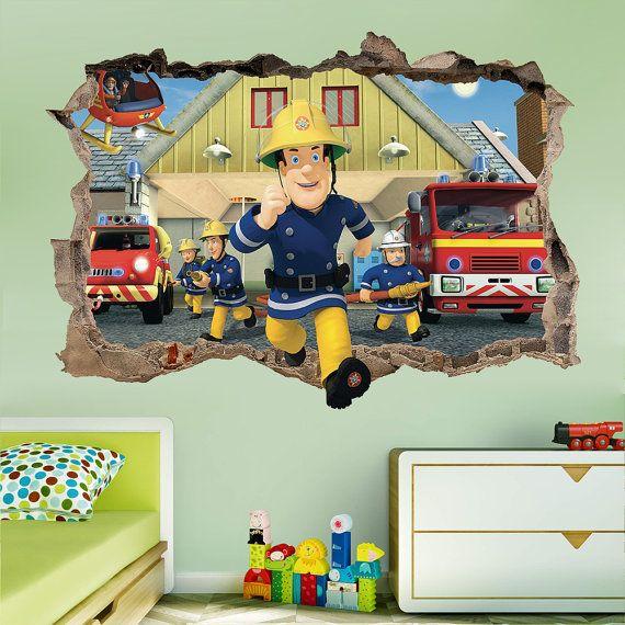Amazing Fireman Sam 3d Wall Sticker Smashed Bedroom Kids Decor Vinyl Super Hero Art  DECAL Removable Home Design