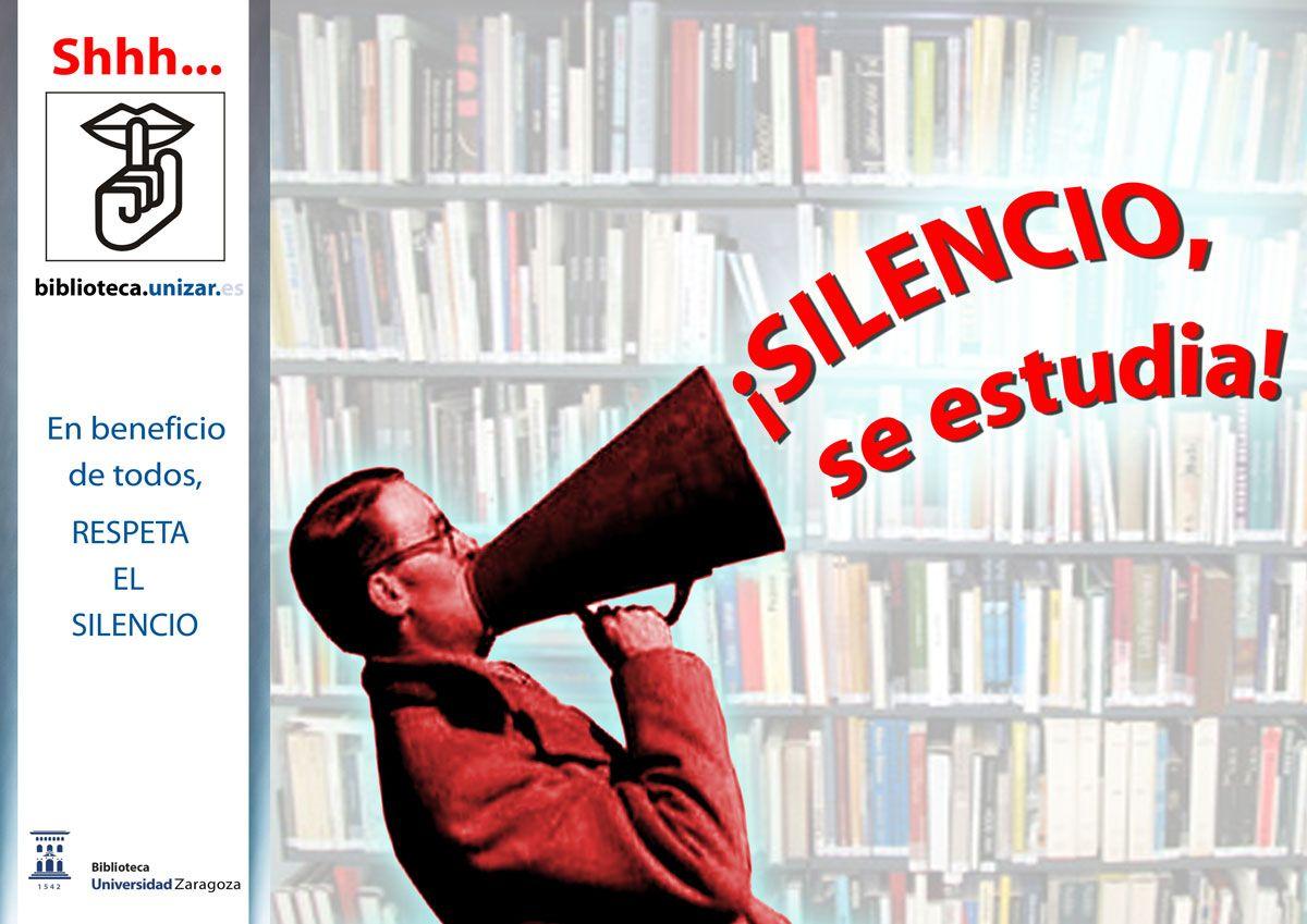 """cartel para la campaña """"En beneficio de todos, respeta el silencio"""", de la Biblioteca de la Universidad de Zaragoza. Enero 2012."""
