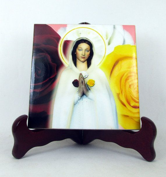 "Virgin Mary "" Rosa Mystica "" - Catholic icon on ceramic tile - handmade in Italy - Now available on Etsy"