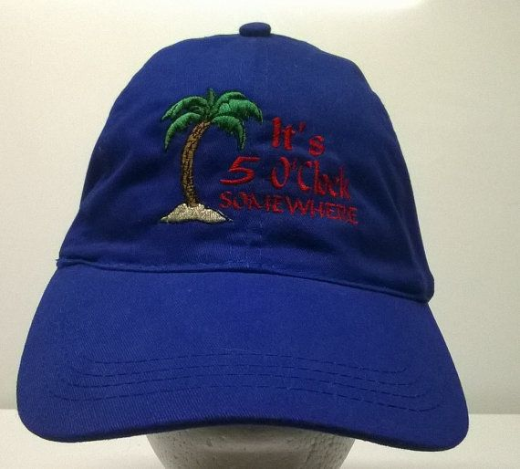 Embroidered Runners Cyclers Ponytail Cap It s 5 OClock Somewhere with Palm  Tree Blue Hat db541e869856