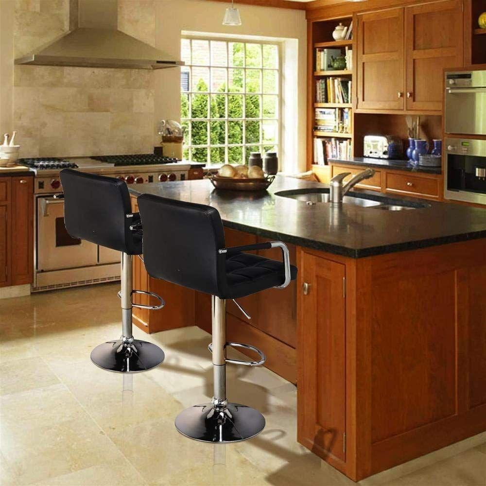 amazon yaheetech bar stools set of 2 black adjustable