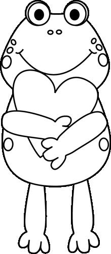 Black and White Valentine Frog Valentines day