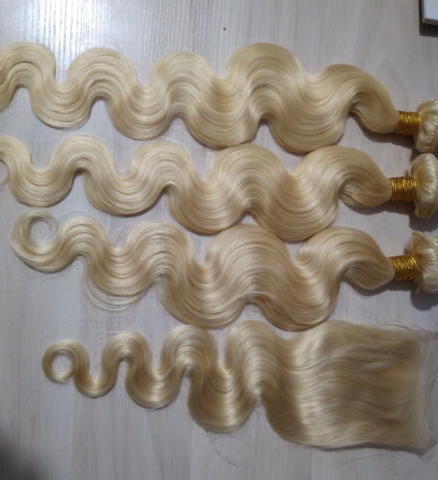 4pcs/Lot Russian Human Hair Extensions Body Wave with Lace Closure #humanhairextensions