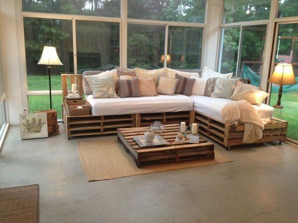 This wooden pallet sofa is easy to move because of use of - Easy to move couch ...