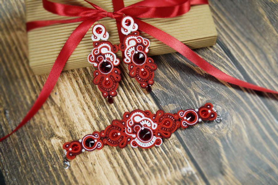 "Komplet biżuterii ślubnej sutasz ""Red"""