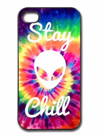 Stay Chill Alien Plastic Case Cover For Apple IPhone Tie Dye Trippy WallpaperHippie