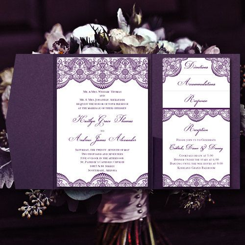 Pocket Fold Wedding Invitations Vintage Lace Purple DIY Printable