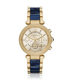 3478644ad92d Parker Pavé Gold-Tone and Navy Acetate Watch by Michael Kors ...