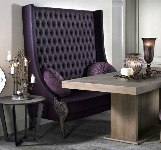 Deep Purple Tufted Wing Back Chair Dining Room Bench Furniture