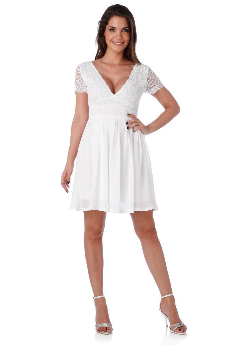 1dca99d952a Robe de soirée courte blanche