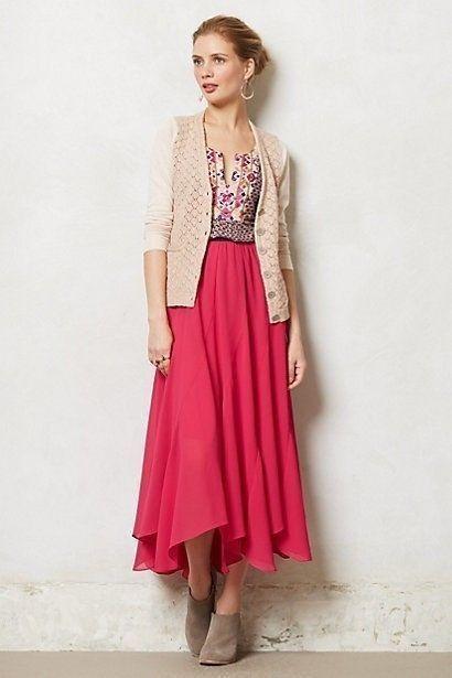 NWT Anthropologie Colima Maxi Skirt by Vanessa Virginia Dark Pink Large #Anthropologie #Maxi