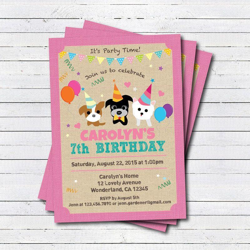 Puppy dog birthday invitation girl boy kids birthday Any age 1st – Puppy Dog Birthday Invitations