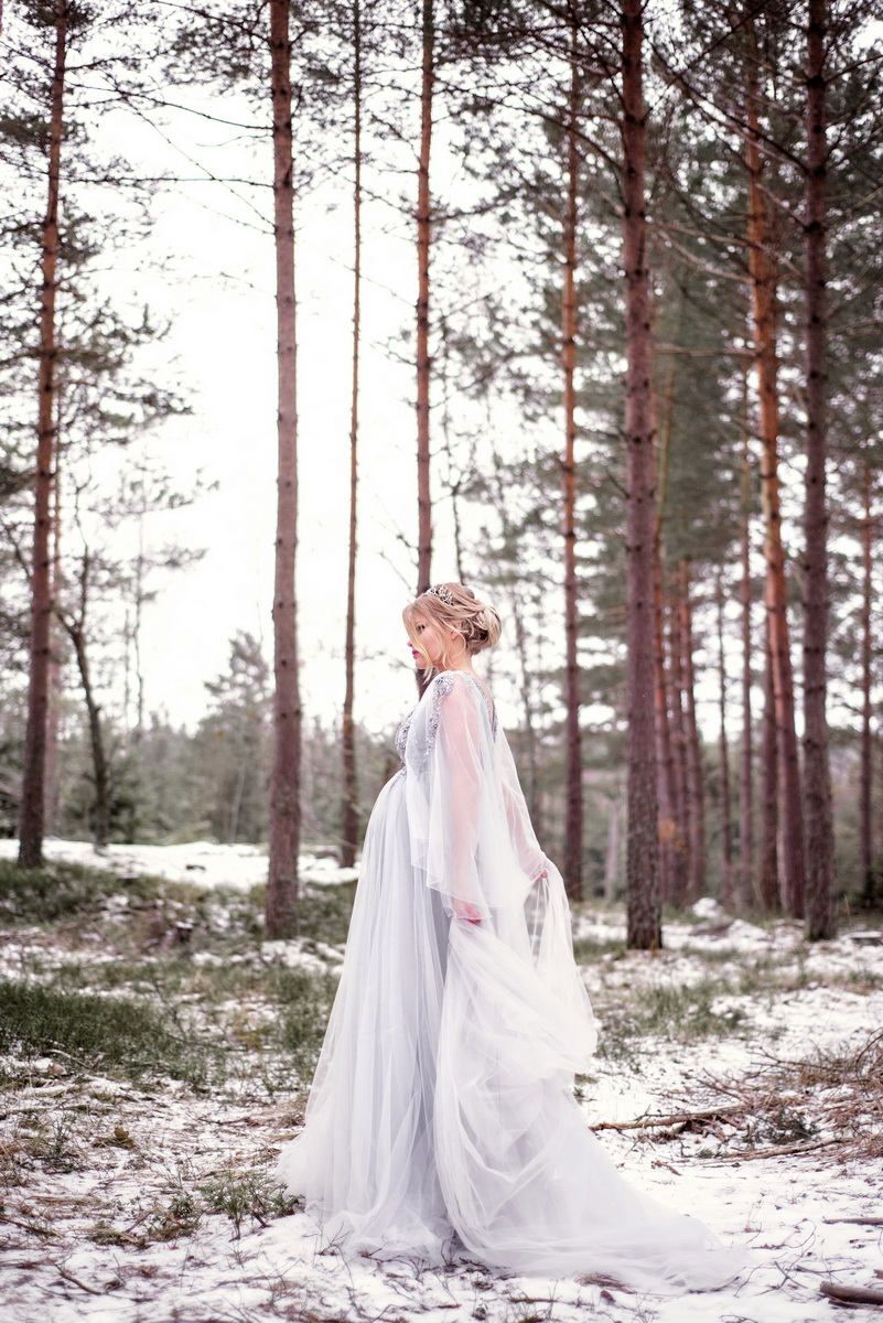 Long lace maternity dress maternity gown pregnancy gown photo