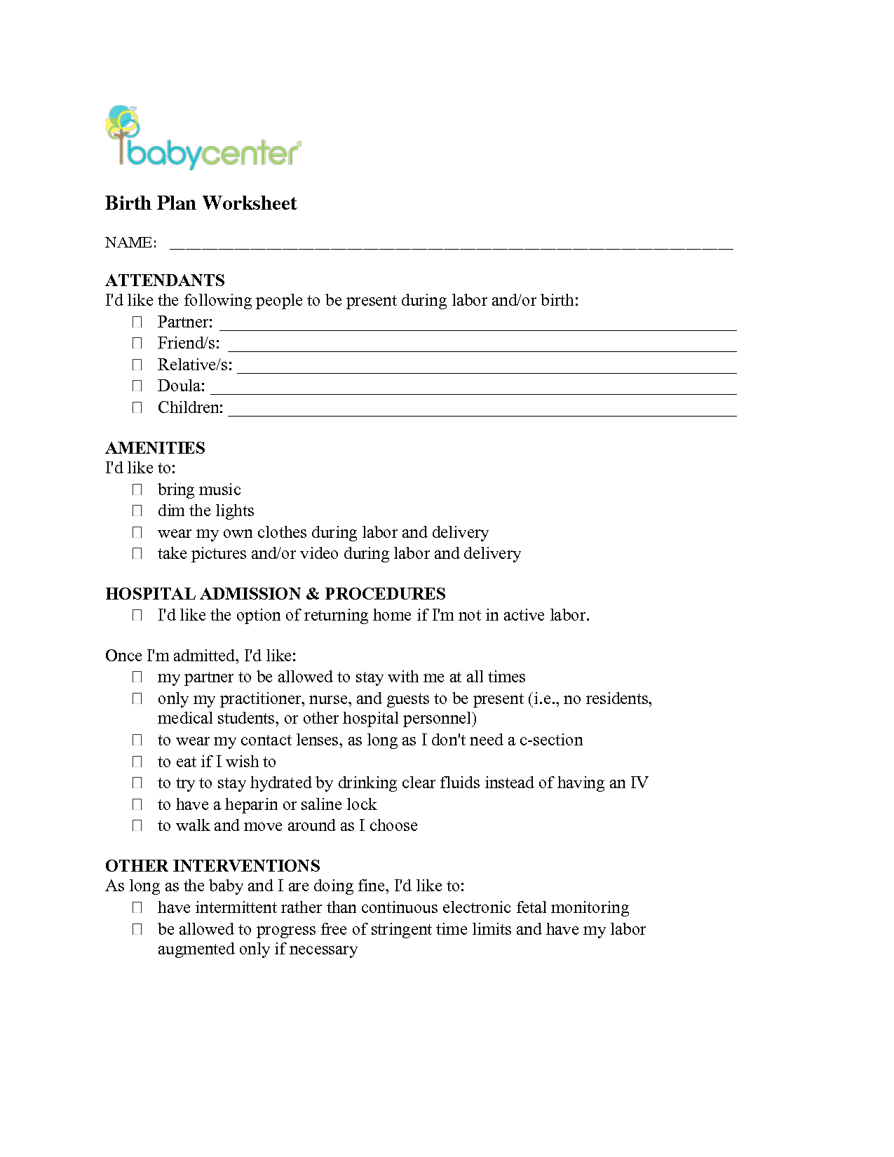 Birth Plan  Birth Plan Worksheet  Baby    Birth Baby