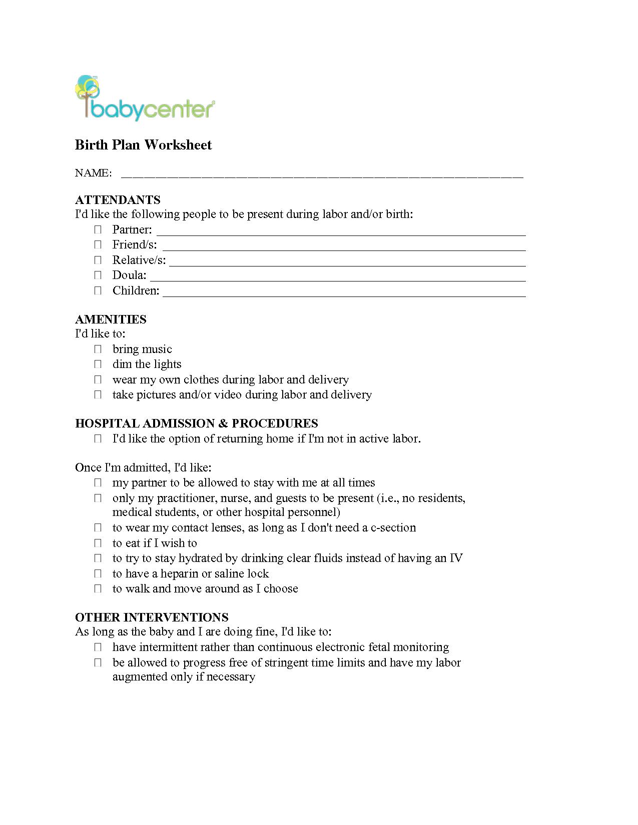 Birth Plan  Birth Plan Worksheet  Baby    Birth Baby