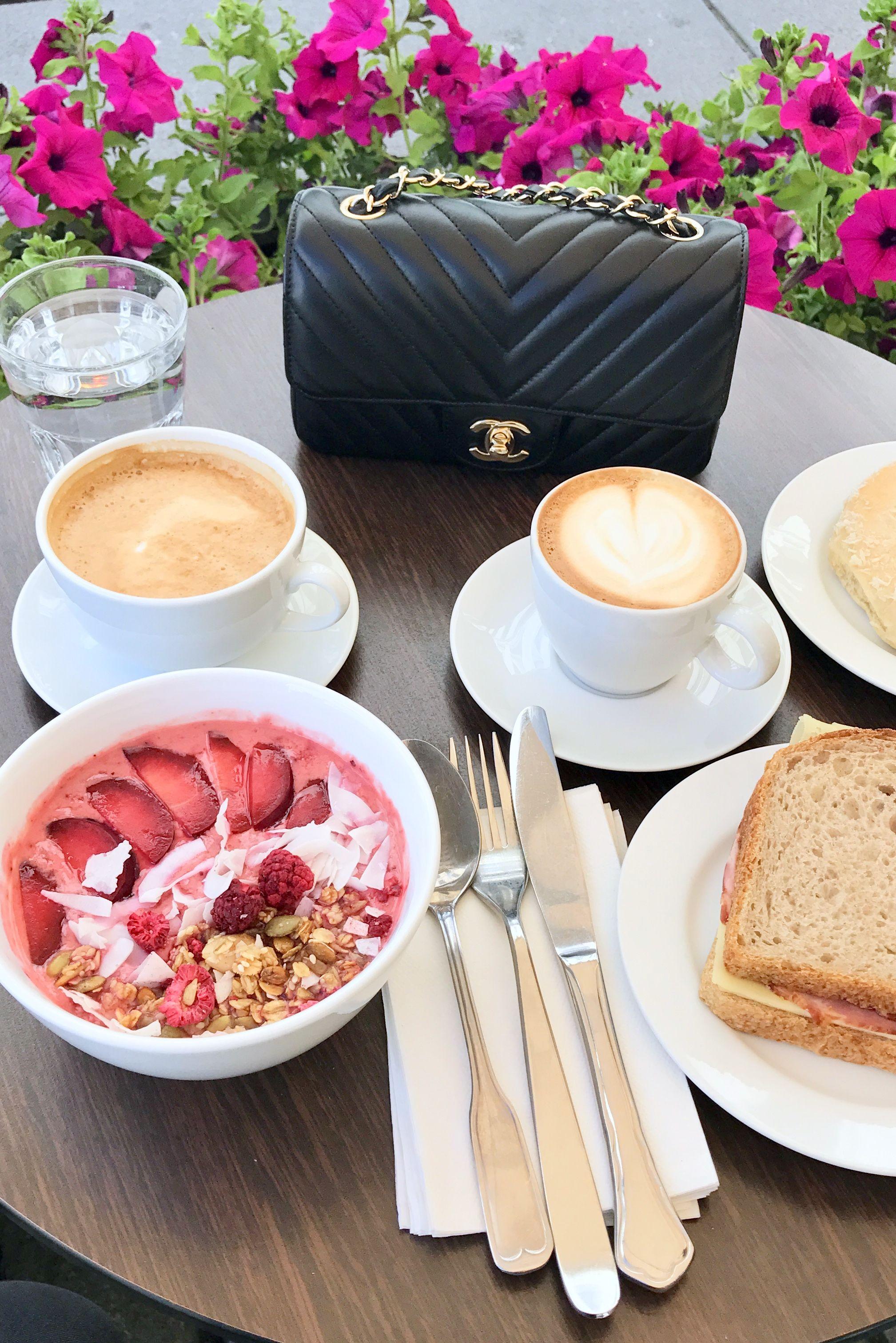 edcf26d5 Chanel rectangular mini, Chanel chevron flap bag. Acai bowl, sandwich,  coffee, cappuccino, caffe latte, lunch time. pursesandpugs