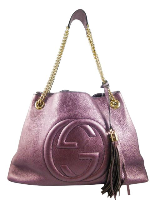 Gucci 308982 Metallic Lilac Soho Leather Shoulder Bag (N1) - Keeks ...