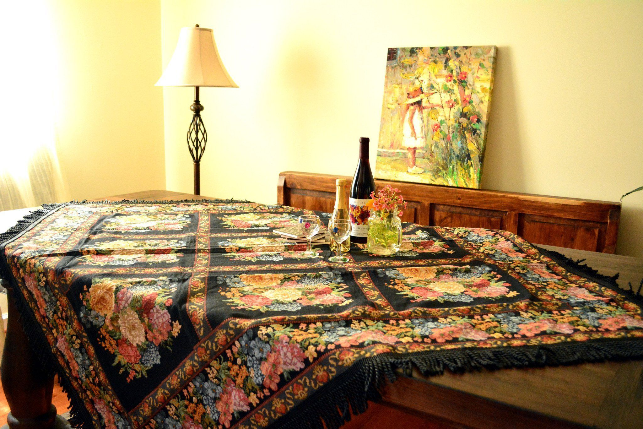 Tache Country Rustic Floral Black Midnight Awakening Tablercloth