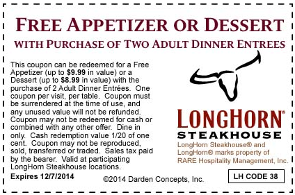 graphic regarding Longhorn Steakhouse Printable Coupons named LongHorn Steakhouse Printable Coupon: Free of charge Appetizer or