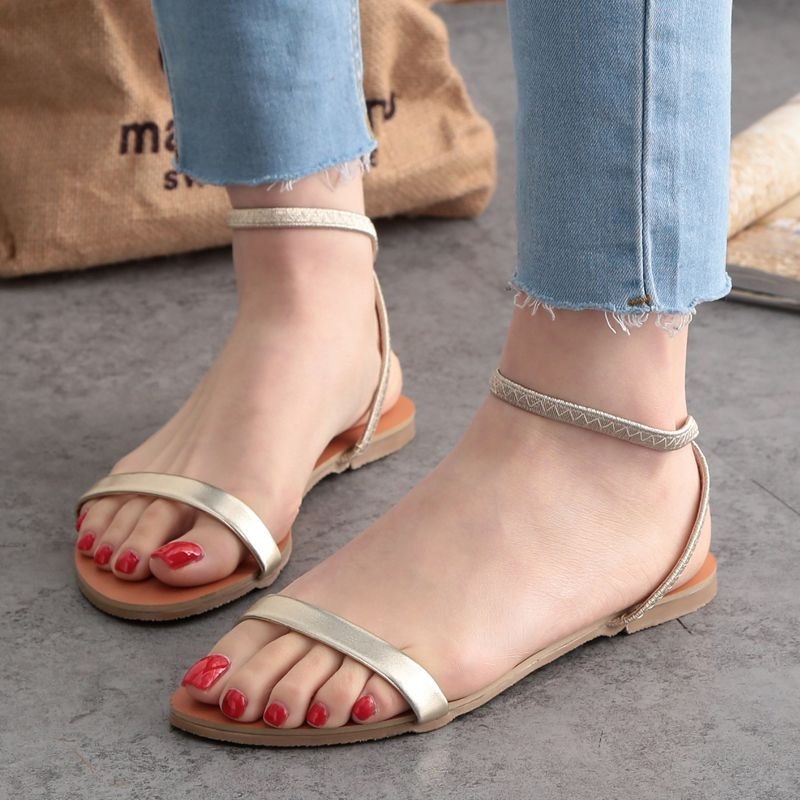 Women Gladiator Sandals 2016 Summer Peep Toe Flats Fashion Casual Shoes  Woman Beach Shoes Ladies Flip