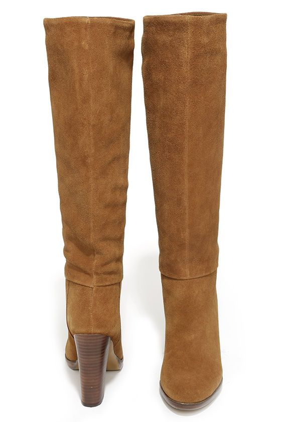 Report Signature Lannister Tan Suede Leather Knee-High Boots ...