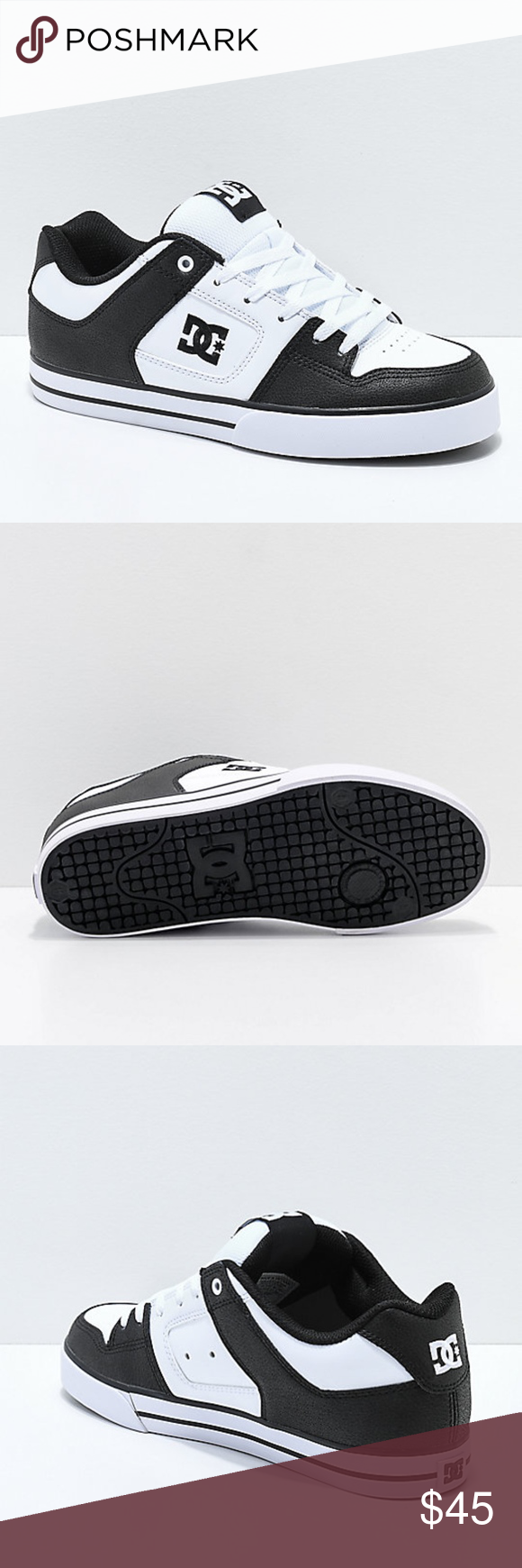 DC Pure Black & White Skate Shoes Mens Sz 11.5 DC Pure Black & White Skate Shoes Mens Sz 11.5  Featured with elements unique to DC's rich DNA, the Pure Skate Shoes are durable and built with nubuck across the upper. Designed with an all around supportive cupsole construction, these shoes boast protection when skating down those big gaps and stair sets.  SKU573 DC Shoes Sneakers #purewhite