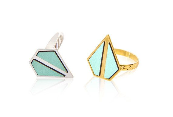 Gold and turquoise geometric ring by benamimichal on Etsy