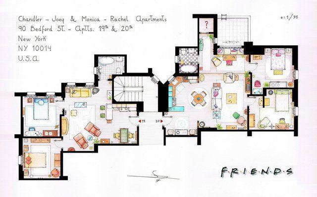 Fancy Friends Apartments Floor Plan Print Friends Apartment Apartment Floor Plan Apartment Floor Plans